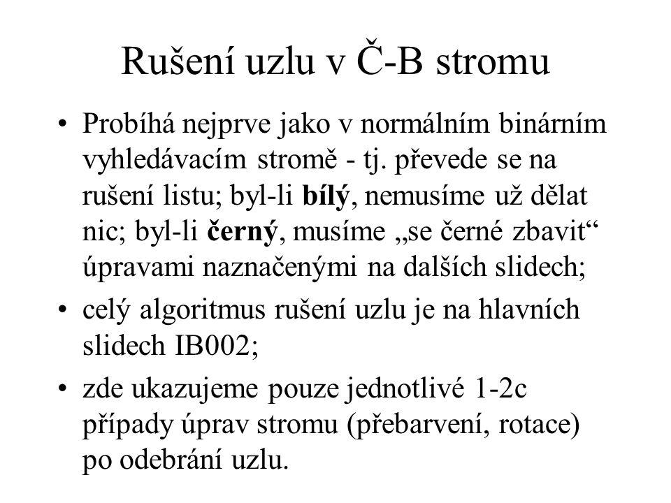 Rušení uzlu v Č-B stromu Probíhá nejprve jako v normálním binárním vyhledávacím stromě - tj.
