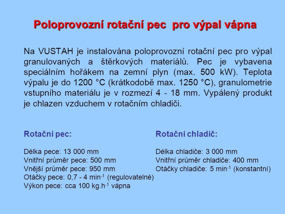 Poloprovozní rotační pec pro výpal vápna Na VUSTAH je instalována poloprovozní rotační pec pro výpal granulovaných a štěrkových materiálů.