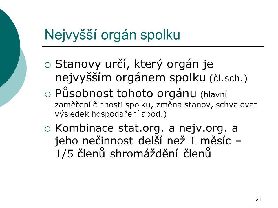 Nejvyšší orgán spolku  Stanovy určí, který orgán je nejvyšším orgánem spolku (čl.sch.)  Působnost tohoto orgánu (hlavní zaměření činnosti spolku, zm