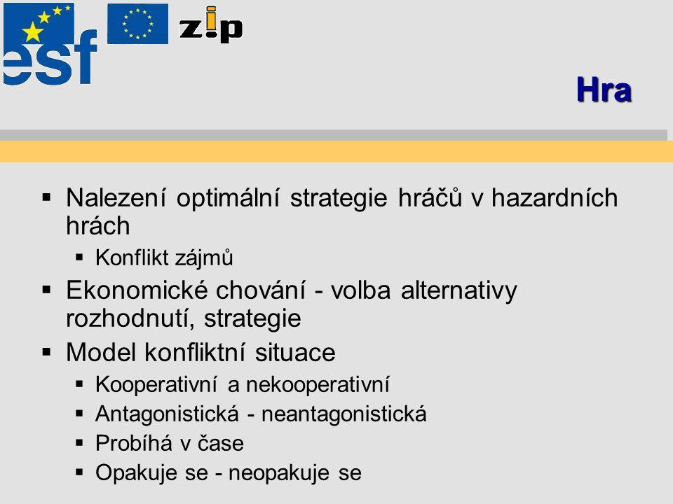 Hra  Nalezení optimální strategie hráčů v hazardních hrách  Konflikt zájmů  Ekonomické chování - volba alternativy rozhodnutí, strategie  Model ko