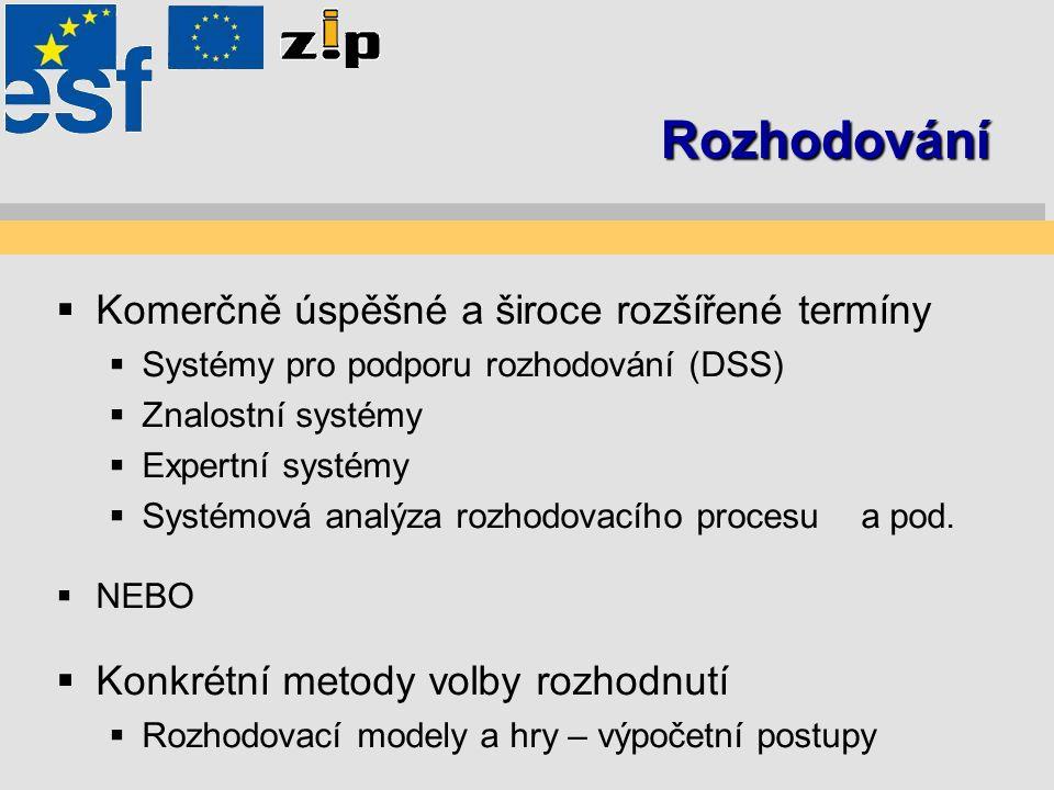 Rozhodování  Komerčně úspěšné a široce rozšířené termíny  Systémy pro podporu rozhodování (DSS)  Znalostní systémy  Expertní systémy  Systémová a