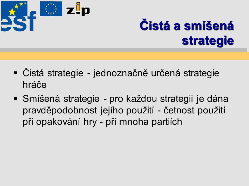 Čistá a smíšená strategie  Čistá strategie - jednoznačně určená strategie hráče  Smíšená strategie - pro každou strategii je dána pravděpodobnost jejího použití - četnost použití při opakování hry - při mnoha partiích