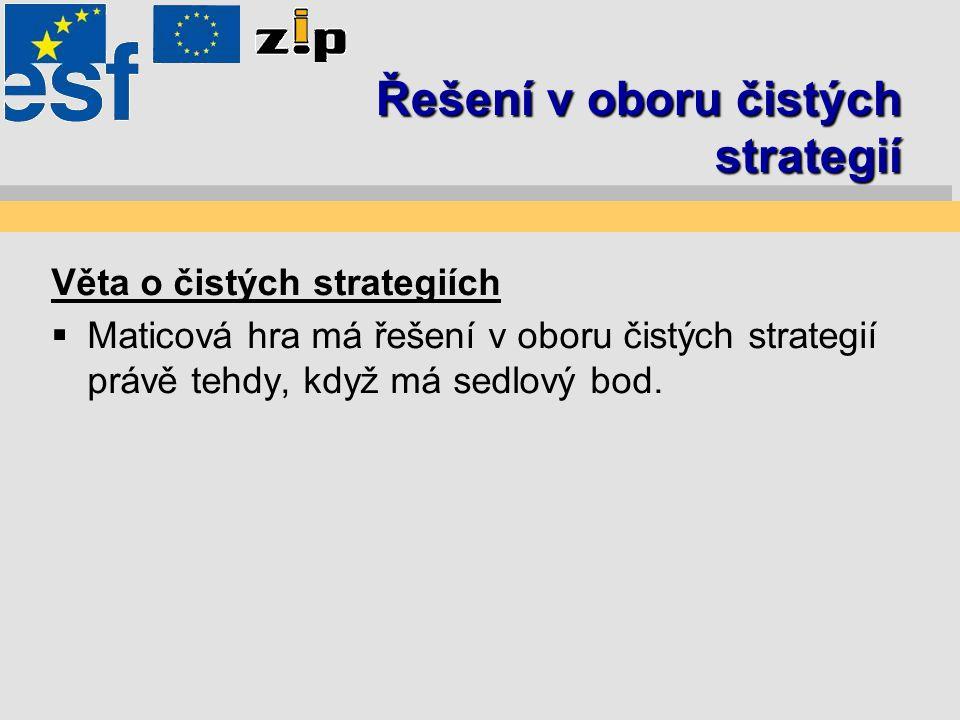 Řešení v oboru čistých strategií Věta o čistých strategiích  Maticová hra má řešení v oboru čistých strategií právě tehdy, když má sedlový bod.