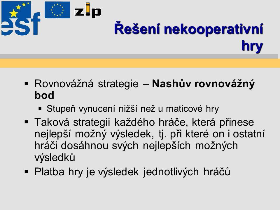 Řešení nekooperativní hry  Rovnovážná strategie – Nashův rovnovážný bod  Stupeň vynucení nižší než u maticové hry  Taková strategii každého hráče,