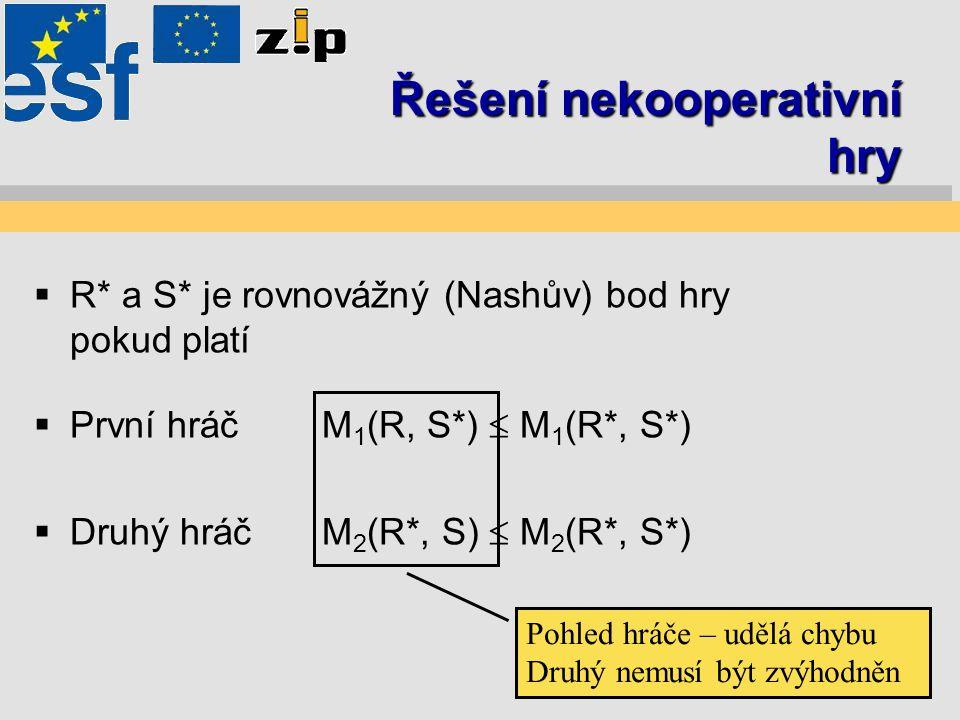 Řešení nekooperativní hry  R* a S* je rovnovážný (Nashův) bod hry pokud platí  První hráčM 1 (R, S*)  M 1 (R*, S*)  Druhý hráčM 2 (R*, S)  M 2 (R*, S*) Pohled hráče – udělá chybu Druhý nemusí být zvýhodněn