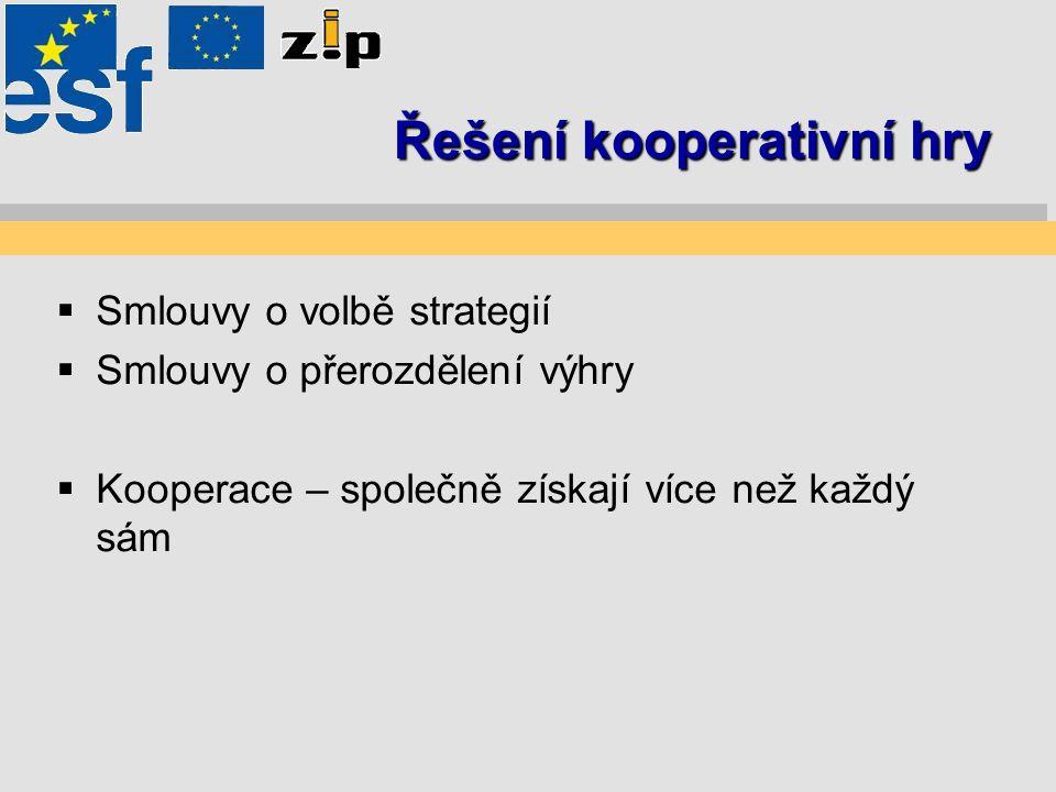 Řešení kooperativní hry  Smlouvy o volbě strategií  Smlouvy o přerozdělení výhry  Kooperace – společně získají více než každý sám