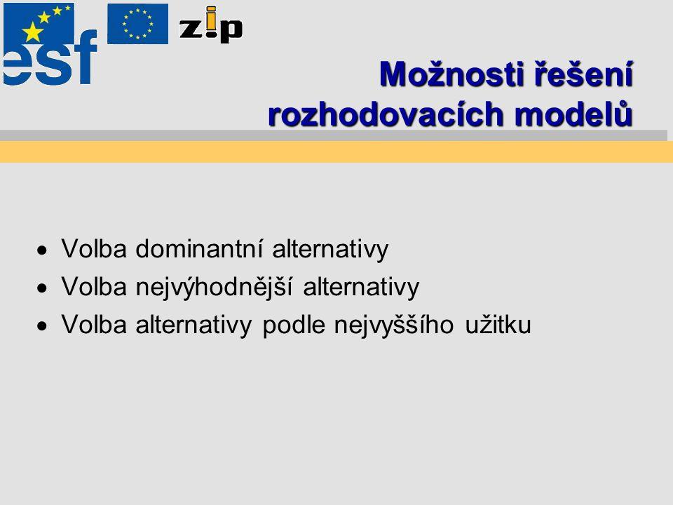 Možnosti řešení rozhodovacích modelů  Volba dominantní alternativy  Volba nejvýhodnější alternativy  Volba alternativy podle nejvyššího užitku