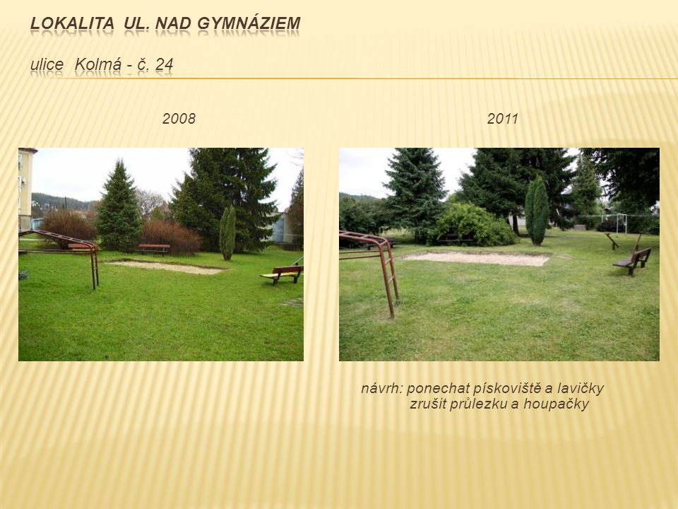 návrh: ponechat pískoviště a lavičky zrušit průlezku a houpačky