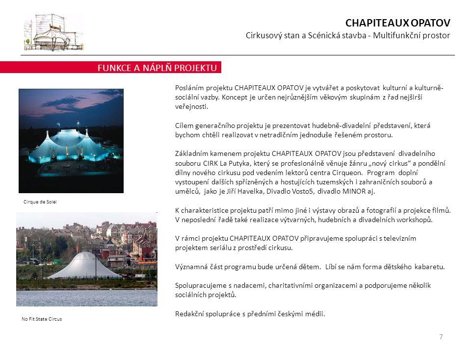 7 FUNKCE A NÁPLŇ PROJEKTU Cirque de Solei Posláním projektu CHAPITEAUX OPATOV je vytvářet a poskytovat kulturní a kulturně- sociální vazby. Koncept je