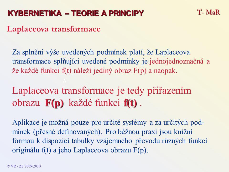 Za splnění výše uvedených podmínek platí, že Laplaceova transformace splňující uvedené podmínky je jednojednoznačná a že každé funkci f(t) náleží jedi