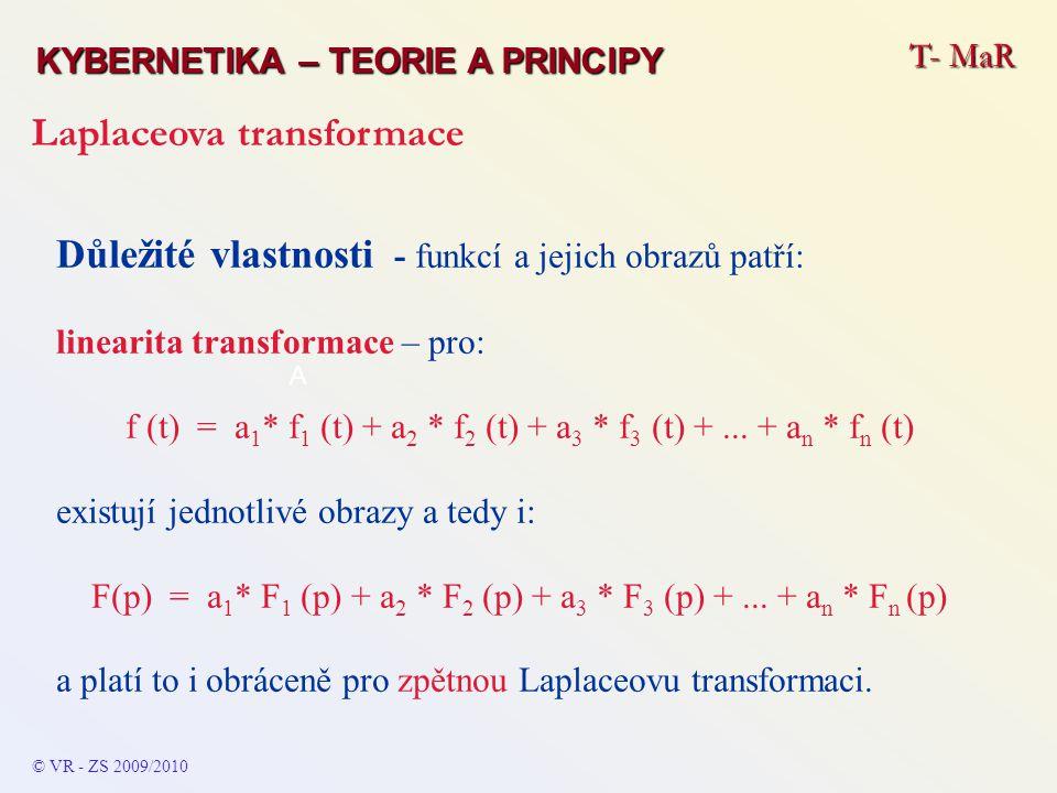 T- MaR KYBERNETIKA – TEORIE A PRINCIPY Laplaceova transformace © VR - ZS 2009/2010 A Důležité vlastnosti - funkcí a jejich obrazů patří: linearita tra