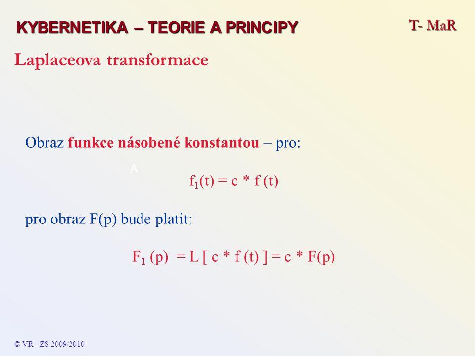 T- MaR KYBERNETIKA – TEORIE A PRINCIPY Laplaceova transformace © VR - ZS 2009/2010 A Obraz funkce násobené konstantou – pro: f 1 (t) = c * f (t) pro o