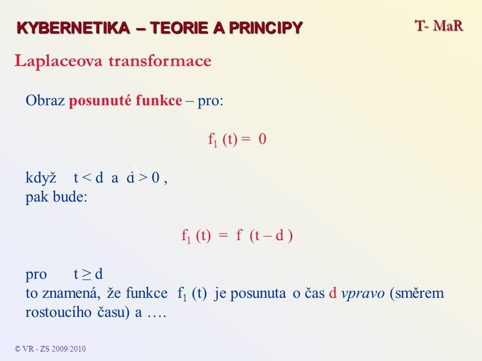 Obraz posunuté funkce – pro: f 1 (t) = 0 kdyžt 0, pak bude: f 1 (t) = f (t – d ) pro t ≥ d to znamená, že funkce f 1 (t) je posunuta o čas d vpravo (s