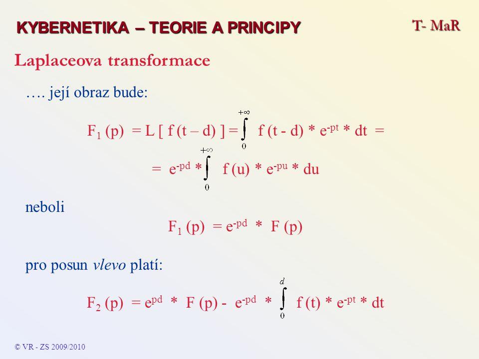 T- MaR KYBERNETIKA – TEORIE A PRINCIPY Laplaceova transformace © VR - ZS 2009/2010 …. její obraz bude: F 1 (p) = L [ f (t – d) ] = f (t - d) * e -pt *