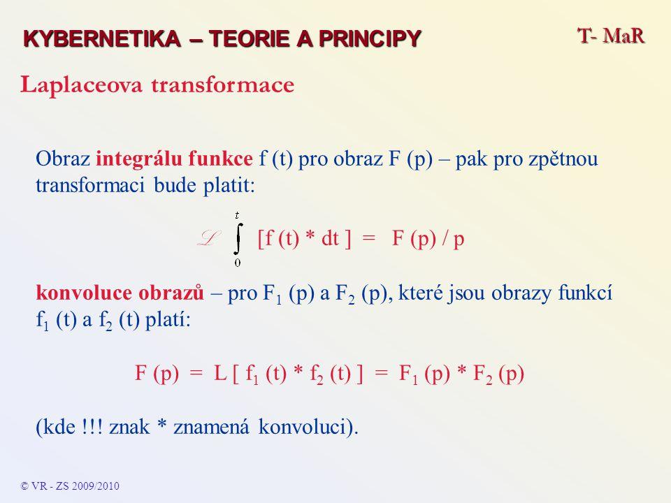 T- MaR KYBERNETIKA – TEORIE A PRINCIPY Laplaceova transformace © VR - ZS 2009/2010 Obraz integrálu funkce f (t) pro obraz F (p) – pak pro zpětnou tran