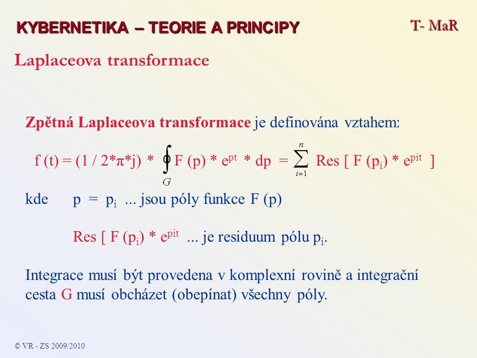 T- MaR KYBERNETIKA – TEORIE A PRINCIPY Laplaceova transformace © VR - ZS 2009/2010 Zpětná Laplaceova transformace je definována vztahem: f (t) = (1 /