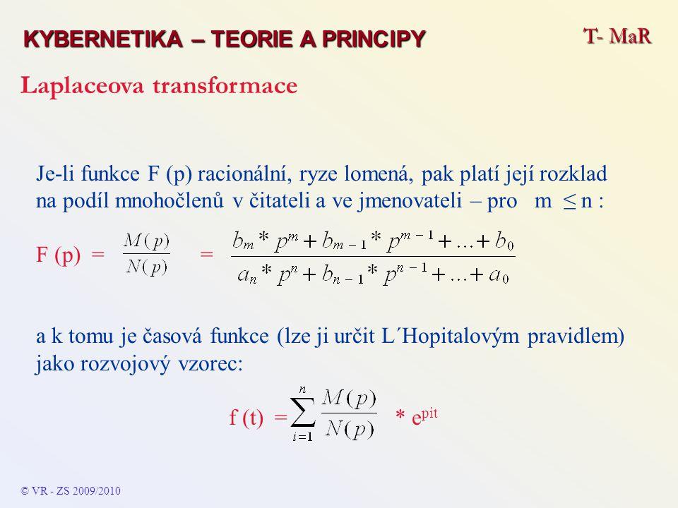 T- MaR KYBERNETIKA – TEORIE A PRINCIPY Laplaceova transformace © VR - ZS 2009/2010 Je-li funkce F (p) racionální, ryze lomená, pak platí její rozklad