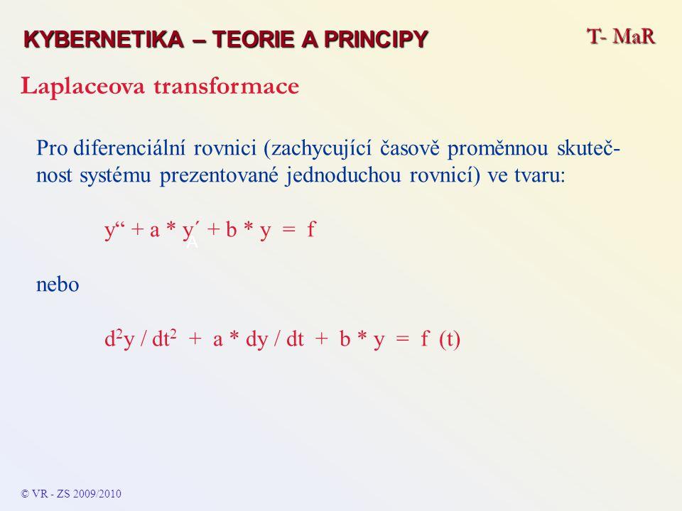 T- MaR KYBERNETIKA – TEORIE A PRINCIPY Laplaceova transformace © VR - ZS 2009/2010 A Pro diferenciální rovnici (zachycující časově proměnnou skuteč- n