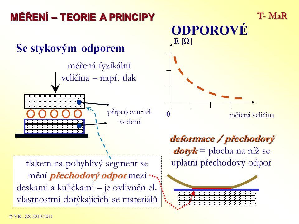 T- MaR MĚŘENÍ – TEORIE A PRINCIPY ODPOROVÉ © VR - ZS 2009/2010 Tenzometrické (odporové) síla F způsobující pnutí (tenzi) v drátcích napjatých mezi kolíky na obou částech, mezi nimiž má být síla změřena pnutí taženého drátku od síly F se měří změnou odporu drátku (změna průřezu a tedy el.