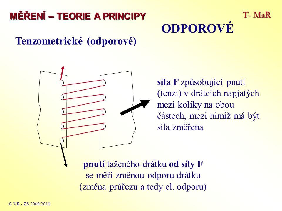 T- MaR MĚŘENÍ – TEORIE A PRINCIPY ODPOROVÉ © VR - ZS 2009/2010 Základní rozsahy parametrů běžných tenzometrů - odpor mezi 50 a 2000 Ω – hodnota s běžnou tolerancí 0,2 až 0,5 % - průřez obvykle 1 x 3 mm až 150 x 10 mm – běžný průřez 25 x 5 mm - tlouštka 0,05 až 0,1 mm – speciální fóliové s obdél- níkovým průřezem napařeného drátku tl.