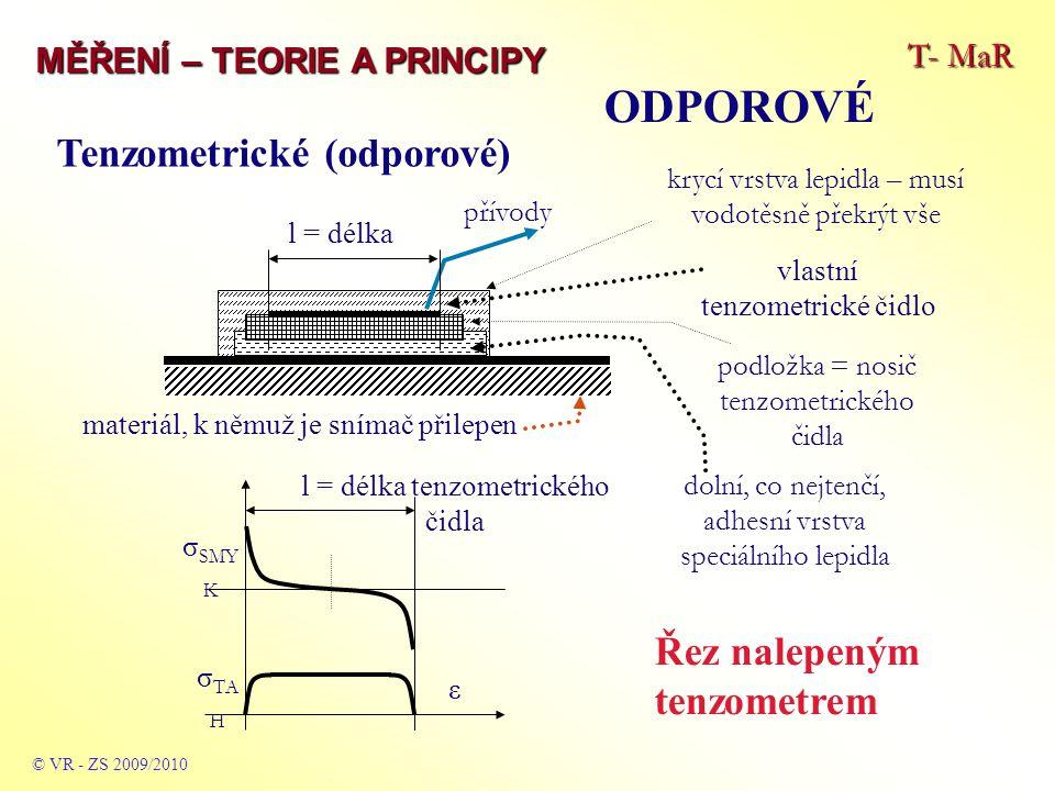 T- MaR MĚŘENÍ – TEORIE A PRINCIPY ODPOROVÉ © VR - ZS 2009/2010 krycí vrstva lepidla – musí vodotěsně překrýt vše l = délka tenzometrického čidla ε σ S