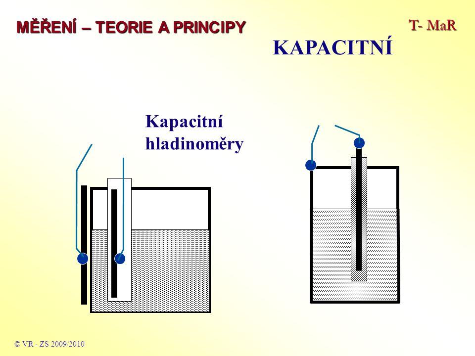 T- MaR MĚŘENÍ – TEORIE A PRINCIPY INDUKČNOSTNÍ © VR - ZS 2009/2010 Založeny na vzniku napětí pokud se mění indukčnost libovolné cívky pohybující se v magnetickém poli nebo pokud se mění in- dukčnost libovolné cívky v pohybujícím se magnetickém poli nebo se uplatňuje princip změny magnetických vlastností ferro- magnetika při jeho deformaci vnější silou: u (t) = B * l * v = B * l * (dx / dt) kde:B … indukce magnetického pole l … délka vodiče cívky (pohybujícího se v mag.