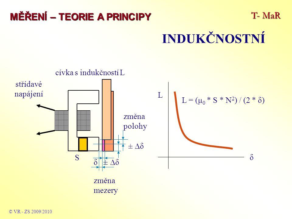 T- MaR MĚŘENÍ – TEORIE A PRINCIPY INDUKČNOSTNÍ © VR - ZS 2009/2010 střídavé napájecí napětí U 1 a indukované napětí U 2 x 0 ± ∆x U2U2 x systém je vhodný pro snímače mikropohybů s otevřeným magnetickým obvodem