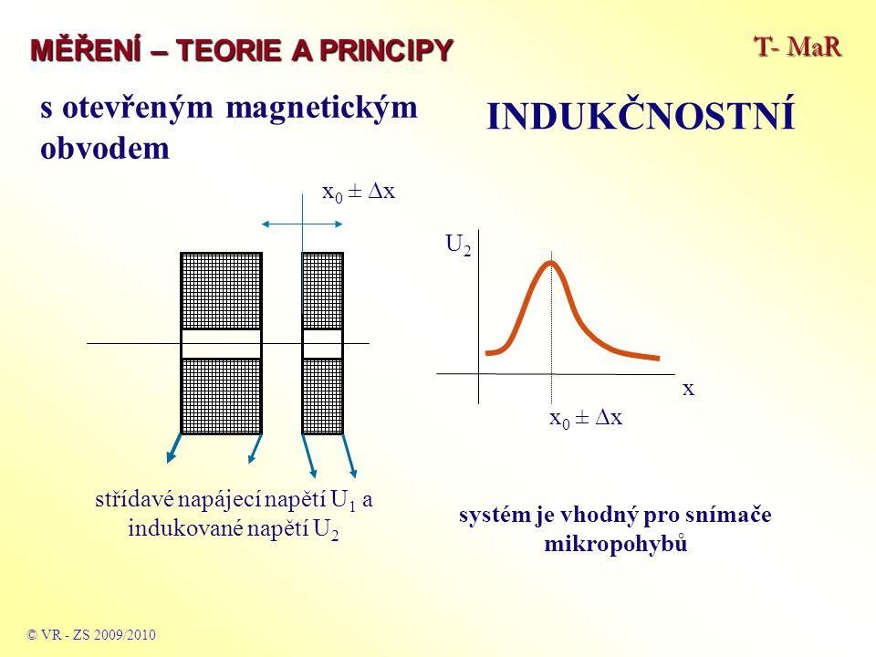 T- MaR MĚŘENÍ – TEORIE A PRINCIPY INDUKČNOSTNÍ © VR - ZS 2009/2010 Snímač s potlačeným polem Konstrukce velice jednoduchého snímače – princip je založen na změně vzdálenosti cívky od magneticky vodivého materiálu s danou tloušťkou – změna tloušťky nebo tvaru (trasy) pohybu pak mění tvar magnetických siločar a tím ovlivňuje impedanci vinutí cívky a tedy její indukčnost.