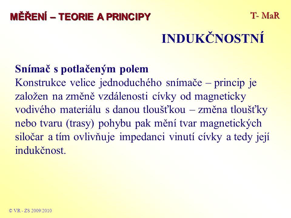 T- MaR MĚŘENÍ – TEORIE A PRINCIPY INDUKČNOSTNÍ © VR - ZS 2009/2010 Snímač s potlačeným polem Konstrukce velice jednoduchého snímače – princip je založ