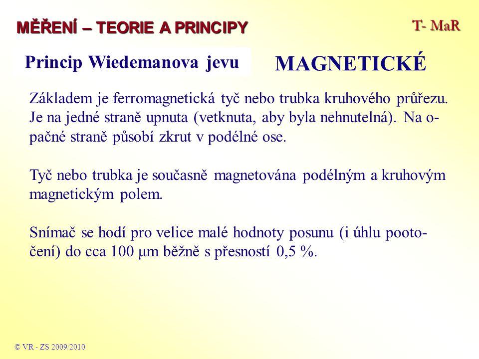 T- MaR MĚŘENÍ – TEORIE A PRINCIPY MAGNETICKÉ © VR - ZS 2009/2010 Základem je ferromagnetická tyč nebo trubka kruhového průřezu. Je na jedné straně upn