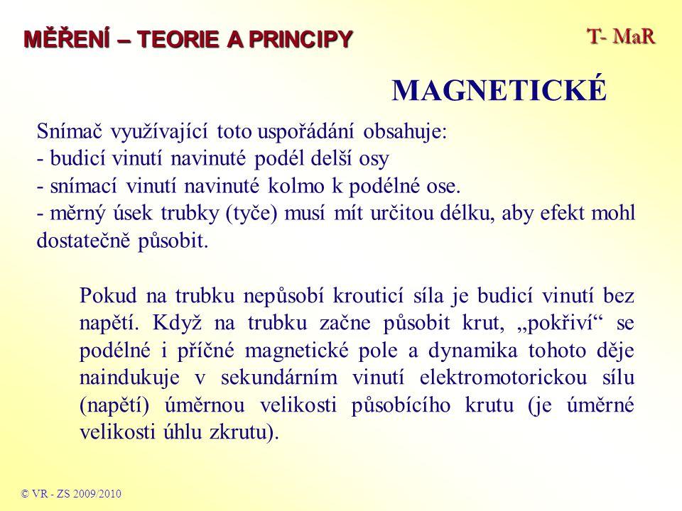 T- MaR MĚŘENÍ – TEORIE A PRINCIPY MAGNETICKÉ © VR - ZS 2009/2010 Snímač využívající toto uspořádání obsahuje: - budicí vinutí navinuté podél delší osy