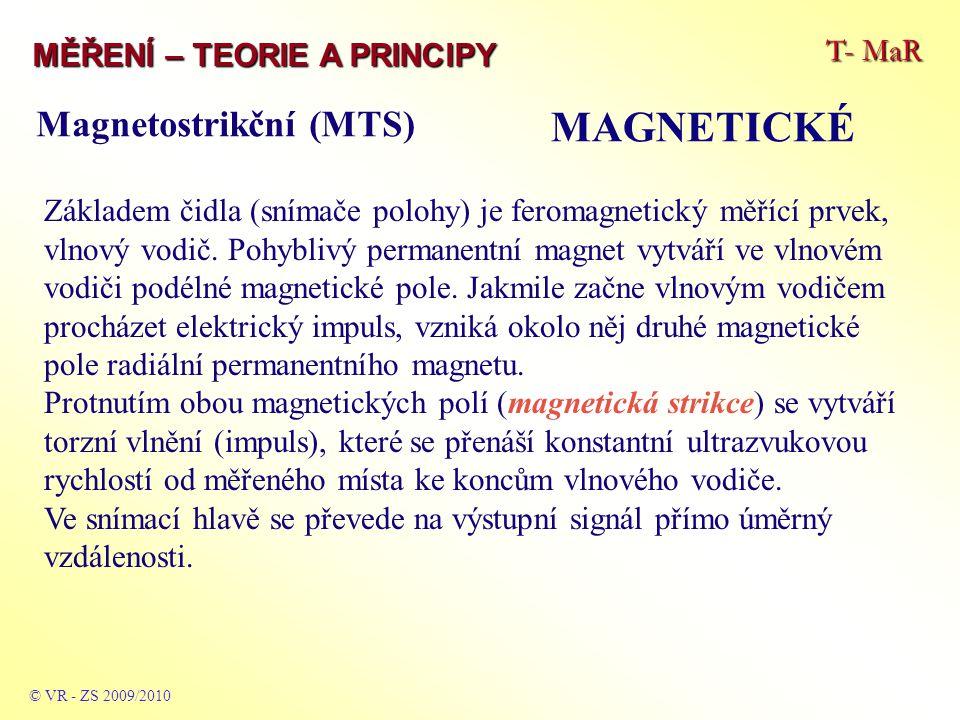 T- MaR MĚŘENÍ – TEORIE A PRINCIPY MAGNETICKÉ © VR - ZS 2009/2010 Základem čidla (snímače polohy) je feromagnetický měřící prvek, vlnový vodič. Pohybli