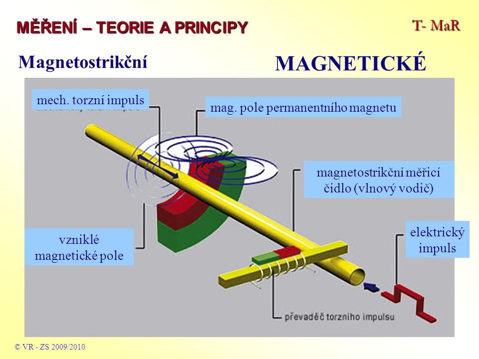 T- MaR MĚŘENÍ – TEORIE A PRINCIPY MAGNETICKÉ © VR - ZS 2009/2010 Magnetostrikční mag. pole permanentního magnetu mech. torzní impuls magnetostrikční m