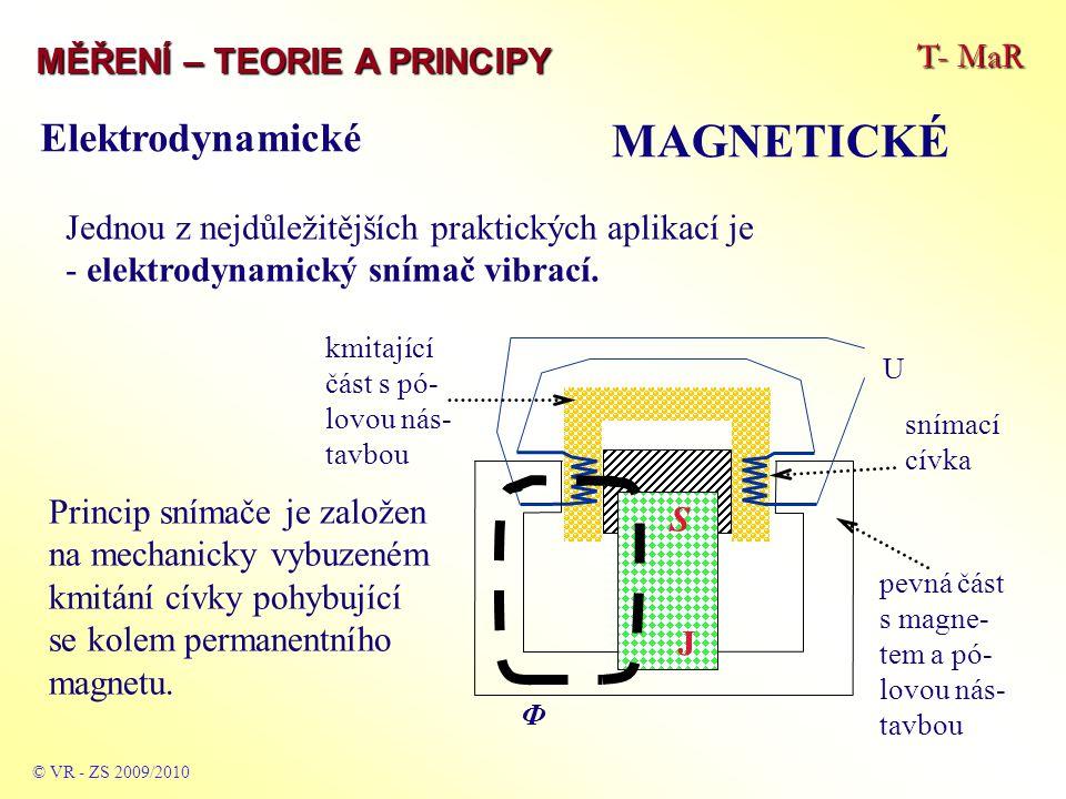 T- MaR MĚŘENÍ – TEORIE A PRINCIPY MAGNETICKÉ © VR - ZS 2009/2010 Jednou z nejdůležitějších praktických aplikací je - elektrodynamický snímač vibrací.