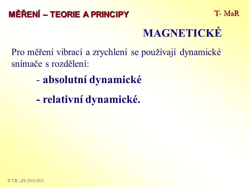 T- MaR MĚŘENÍ – TEORIE A PRINCIPY MAGNETICKÉ © VR - ZS 2010/2011 Pro měření vibrací a zrychlení se používají dynamické snímače s rozdělení: - absolutn