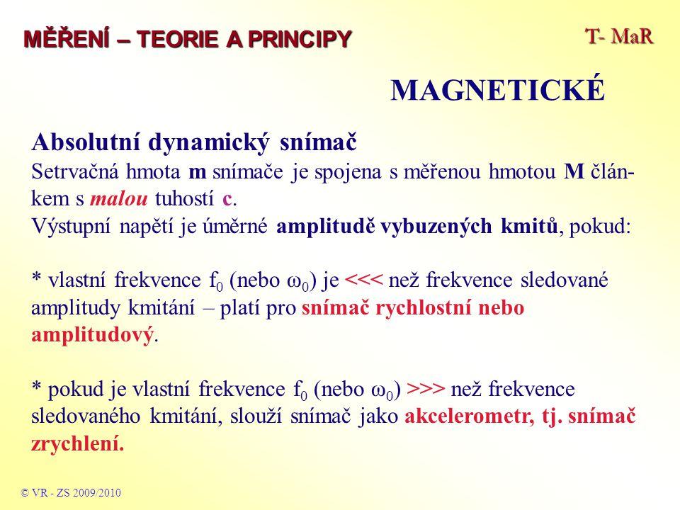 T- MaR MĚŘENÍ – TEORIE A PRINCIPY MAGNETICKÉ © VR - ZS 2009/2010 Absolutní dynamický snímač Setrvačná hmota m snímače je spojena s měřenou hmotou M čl