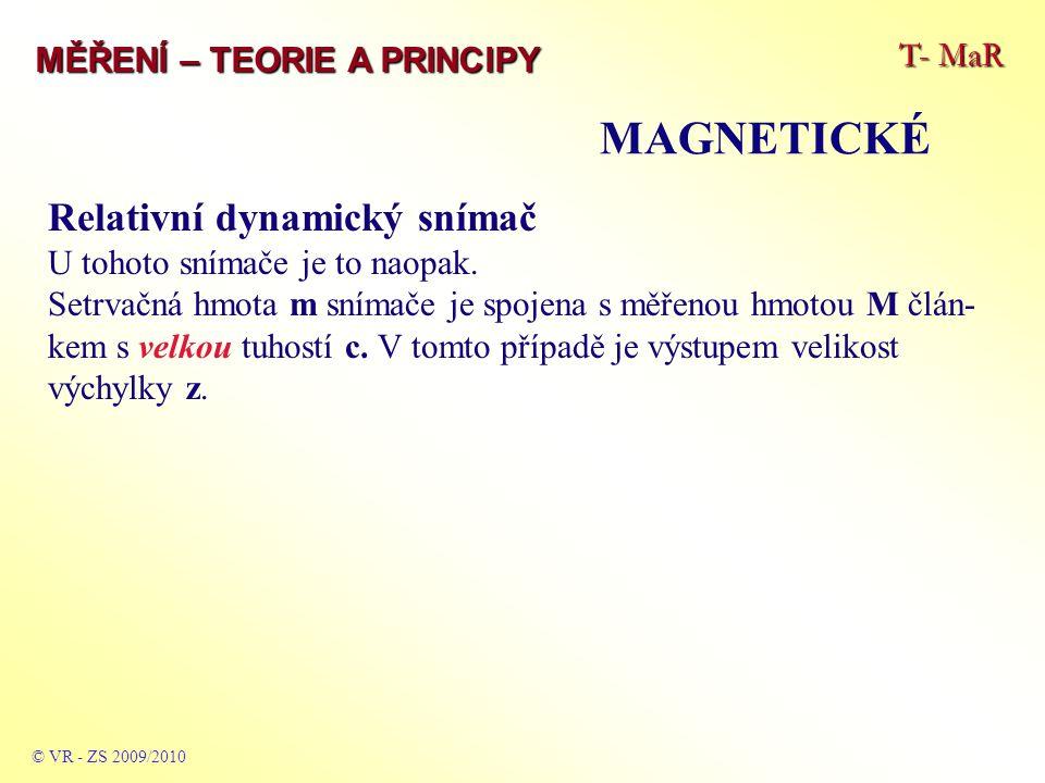 T- MaR MĚŘENÍ – TEORIE A PRINCIPY MAGNETICKÉ © VR - ZS 2009/2010 Relativní dynamický snímač U tohoto snímače je to naopak. Setrvačná hmota m snímače j
