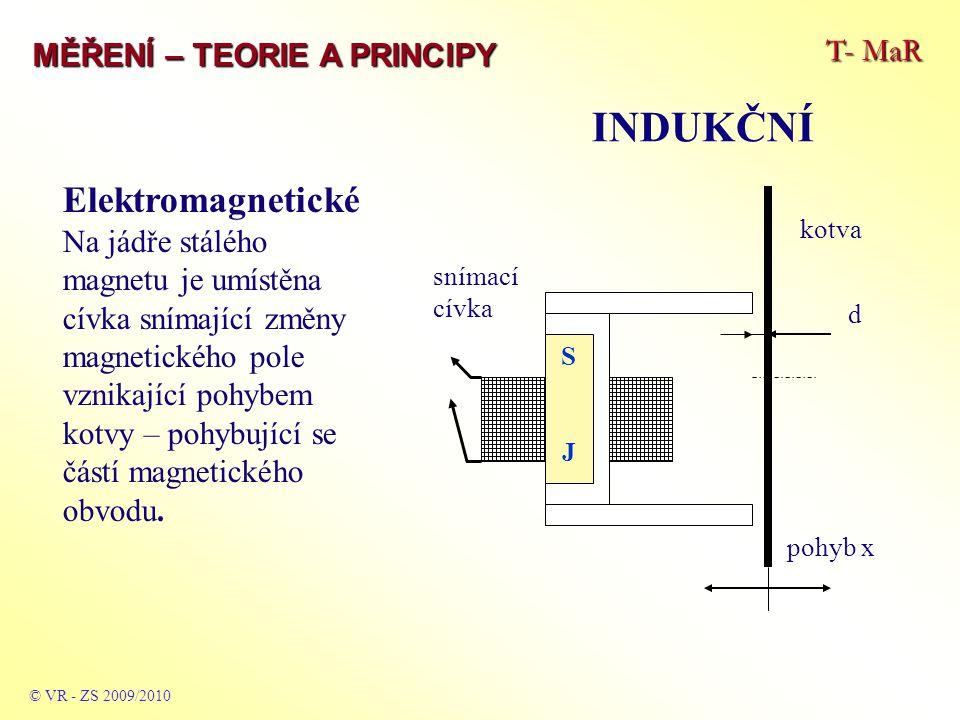 T- MaR MĚŘENÍ – TEORIE A PRINCIPY INDUKČNÍ © VR - ZS 2009/2010 Elektromagnetické Na jádře stálého magnetu je umístěna cívka snímající změny magnetické