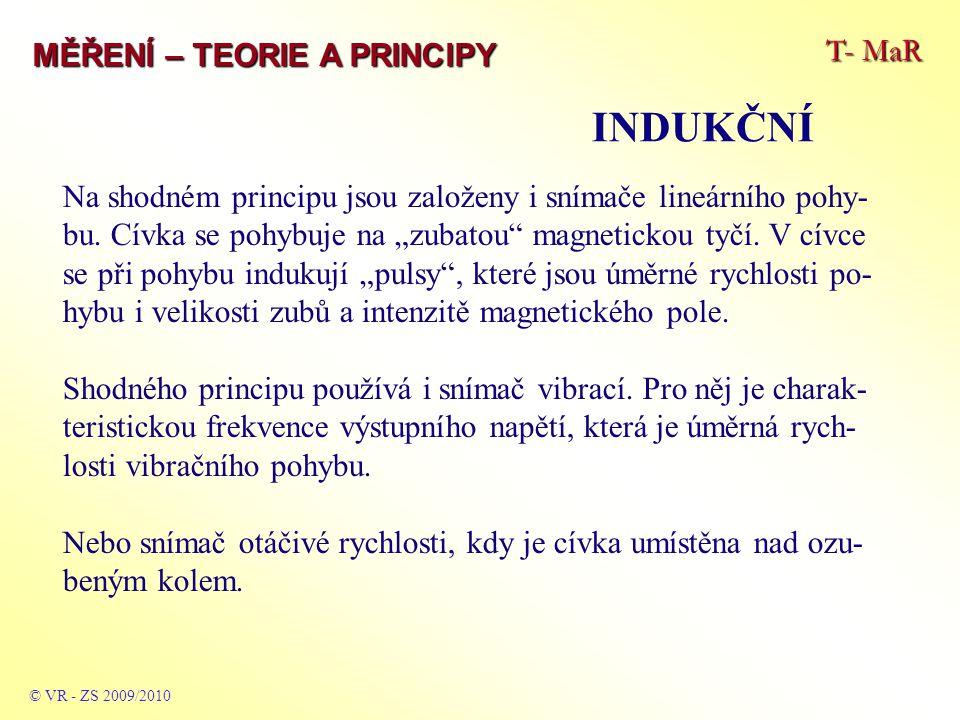"""T- MaR MĚŘENÍ – TEORIE A PRINCIPY INDUKČNÍ © VR - ZS 2009/2010 Na shodném principu jsou založeny i snímače lineárního pohy- bu. Cívka se pohybuje na """""""