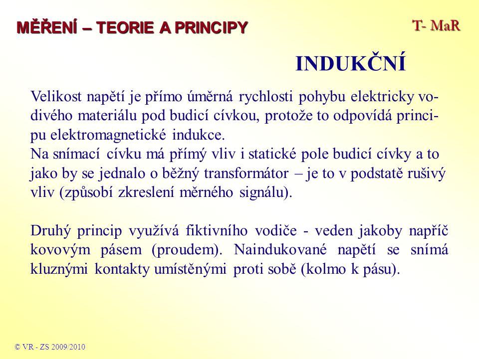 T- MaR MĚŘENÍ – TEORIE A PRINCIPY INDUKČNÍ © VR - ZS 2009/2010 Velikost napětí je přímo úměrná rychlosti pohybu elektricky vo- divého materiálu pod bu