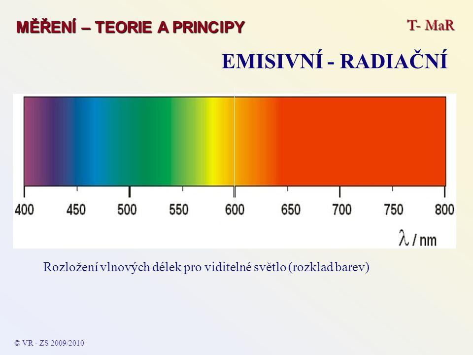 T- MaR MĚŘENÍ – TEORIE A PRINCIPY EMISIVNÍ - RADIAČNÍ © VR - ZS 2009/2010 Rozložení vlnových délek pro viditelné světlo (rozklad barev)