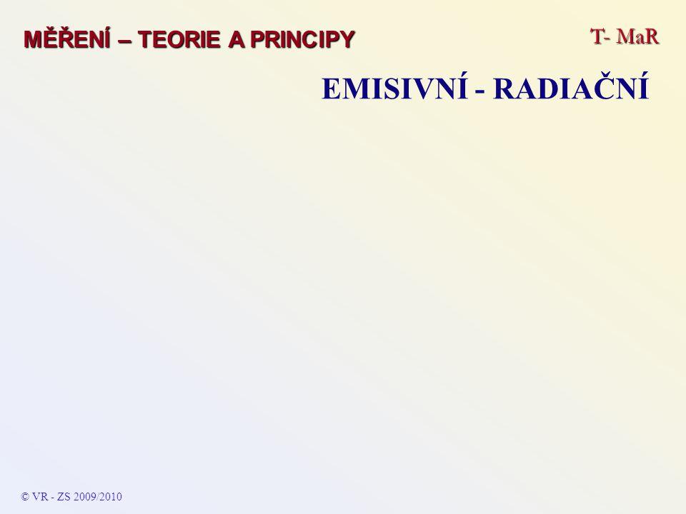 T- MaR MĚŘENÍ – TEORIE A PRINCIPY EMISIVNÍ - RADIAČNÍ © VR - ZS 2009/2010