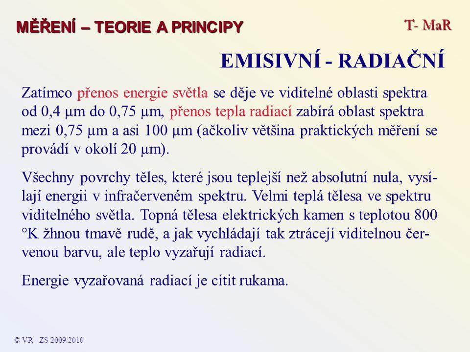 T- MaR MĚŘENÍ – TEORIE A PRINCIPY EMISIVNÍ - RADIAČNÍ © VR - ZS 2009/2010 Zatímco přenos energie světla se děje ve viditelné oblasti spektra od 0,4 µm
