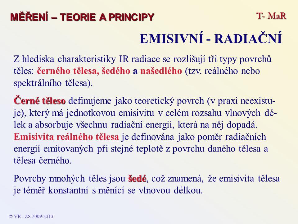 T- MaR MĚŘENÍ – TEORIE A PRINCIPY EMISIVNÍ - RADIAČNÍ © VR - ZS 2009/2010 Z hlediska charakteristiky IR radiace se rozlišují tři typy povrchů těles: č