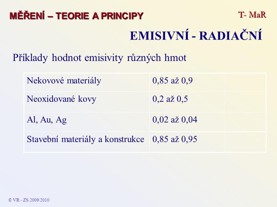 T- MaR MĚŘENÍ – TEORIE A PRINCIPY EMISIVNÍ - RADIAČNÍ © VR - ZS 2009/2010 Příklady hodnot emisivity různých hmot Nekovové materiály0,85 až 0,9 Neoxido
