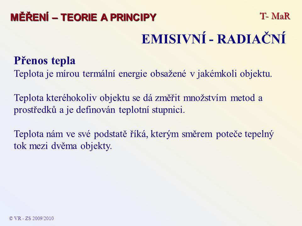 T- MaR MĚŘENÍ – TEORIE A PRINCIPY EMISIVNÍ - RADIAČNÍ © VR - ZS 2009/2010 Přenos tepla Teplota je mírou termální energie obsažené v jakémkoli objektu.