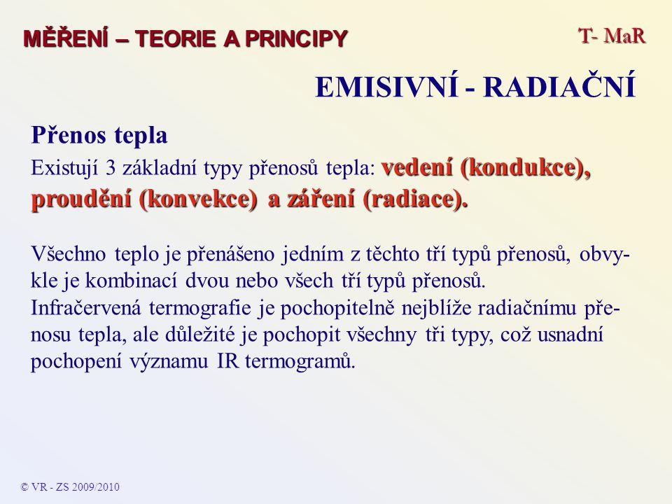 T- MaR MĚŘENÍ – TEORIE A PRINCIPY EMISIVNÍ - RADIAČNÍ © VR - ZS 2009/2010 Přenos tepla vedení (kondukce), proudění (konvekce) a záření (radiace). Exis