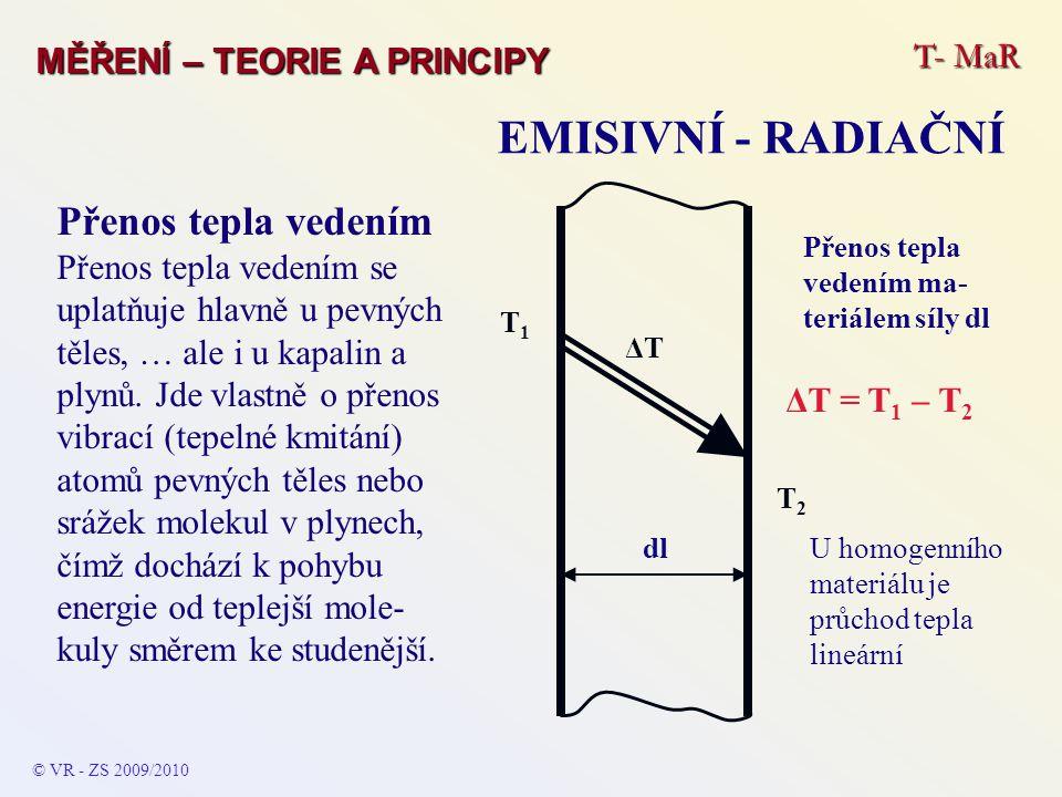 T- MaR MĚŘENÍ – TEORIE A PRINCIPY EMISIVNÍ - RADIAČNÍ © VR - ZS 2009/2010 Přenos tepla vedením Přenos tepla vedením se uplatňuje hlavně u pevných těle