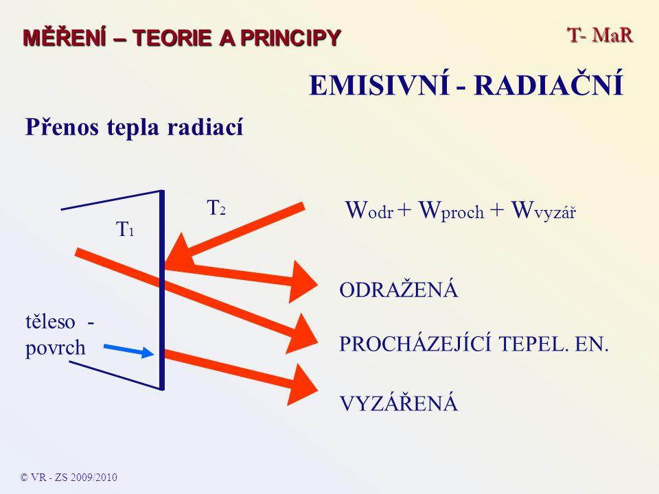 T- MaR MĚŘENÍ – TEORIE A PRINCIPY EMISIVNÍ - RADIAČNÍ Přenos tepla radiací těleso - povrch T1T1 T2T2 ODRAŽENÁ PROCHÁZEJÍCÍ TEPEL. EN. VYZÁŘENÁ W odr +