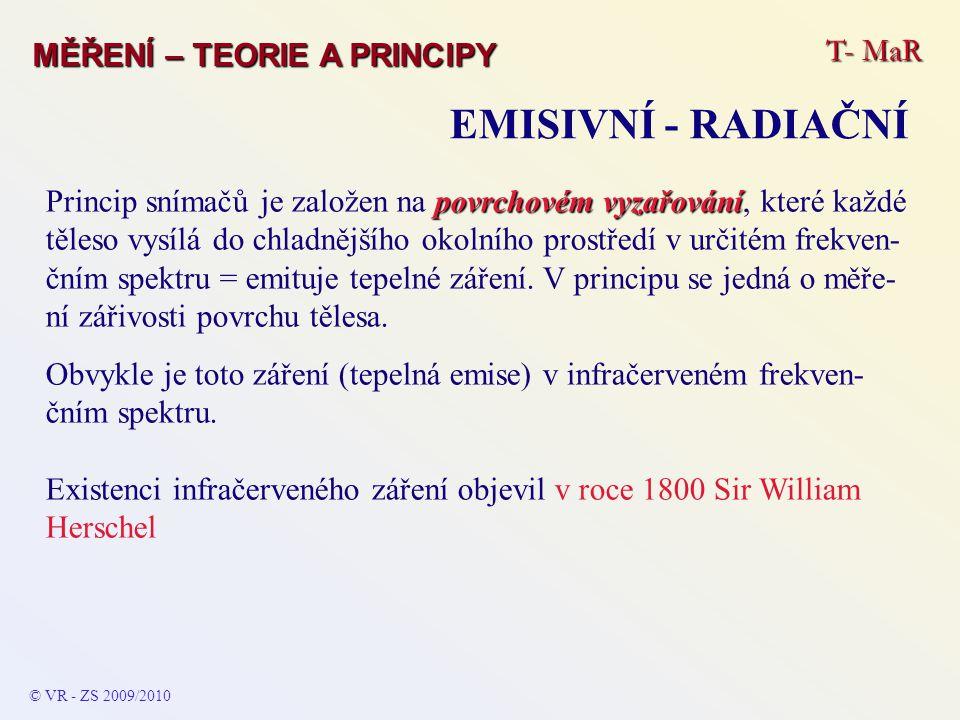 T- MaR MĚŘENÍ – TEORIE A PRINCIPY EMISIVNÍ - RADIAČNÍ © VR - ZS 2009/2010 povrchovém vyzařování Princip snímačů je založen na povrchovém vyzařování, k